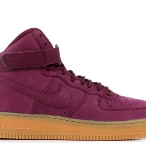 New Nike Air Force 1 High Suede Wine/Burgundy